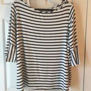 Navy and white stripped top.